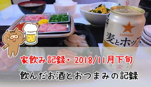 家飲み記録。2018/11月下旬に飲んだお酒とおつまみたち。冬ビールを楽しんでいます。